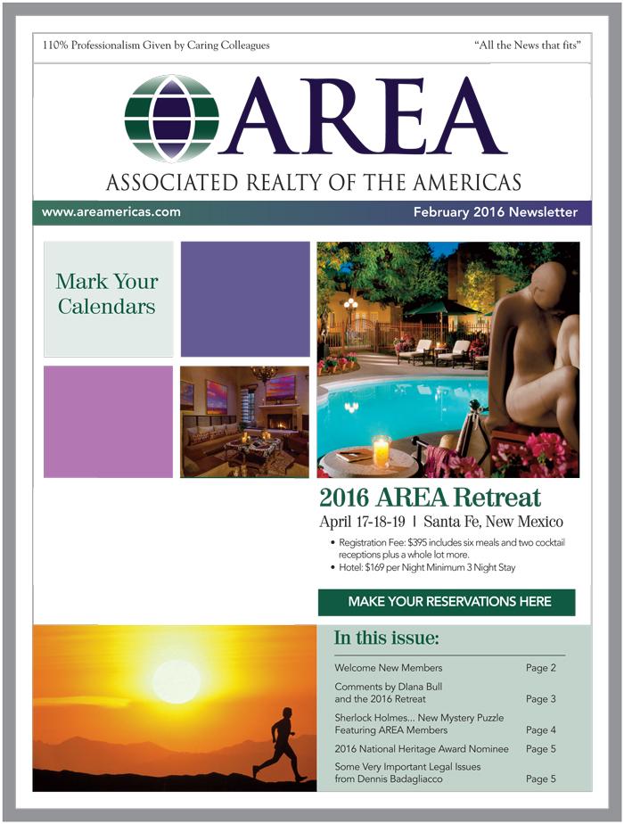 AREA February 2016 Newsletter