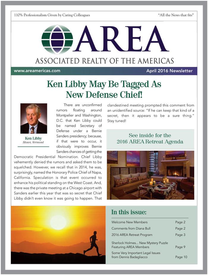 AREA April 2016 Newsletter