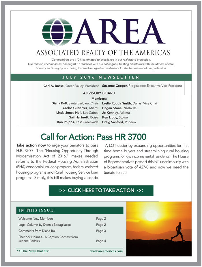 AREA July 2016 Newsletter