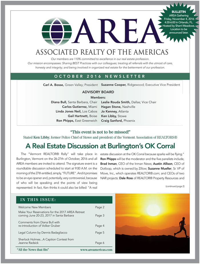 AREA Oct 2016 Newsletter
