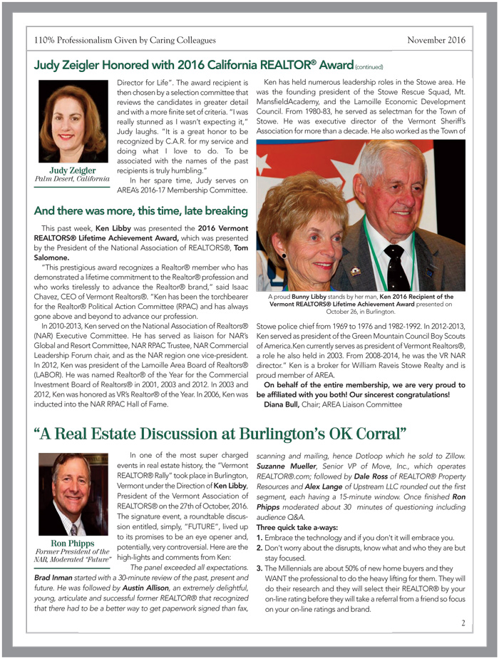 AREA November 2016 Newsletter